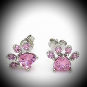 Jewelry - Dainty Pink Crystal Dog / Cat Paw Earrings
